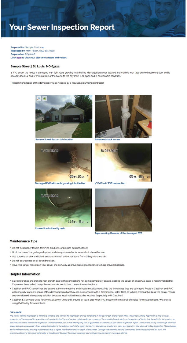 Sample Report The Sewerpros